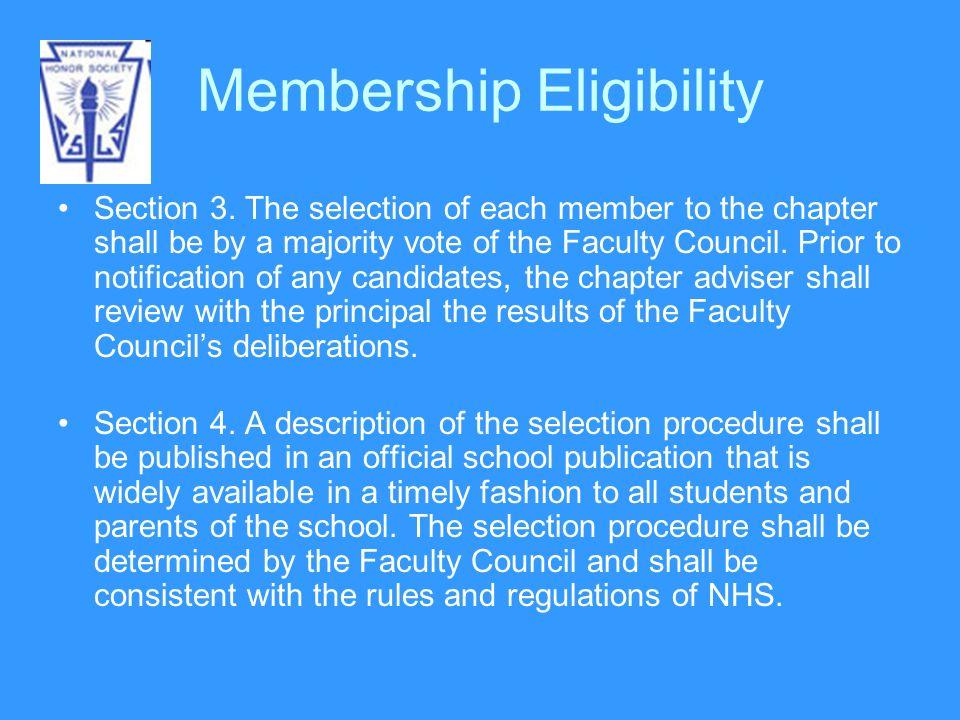 Membership Eligibility Section 3.