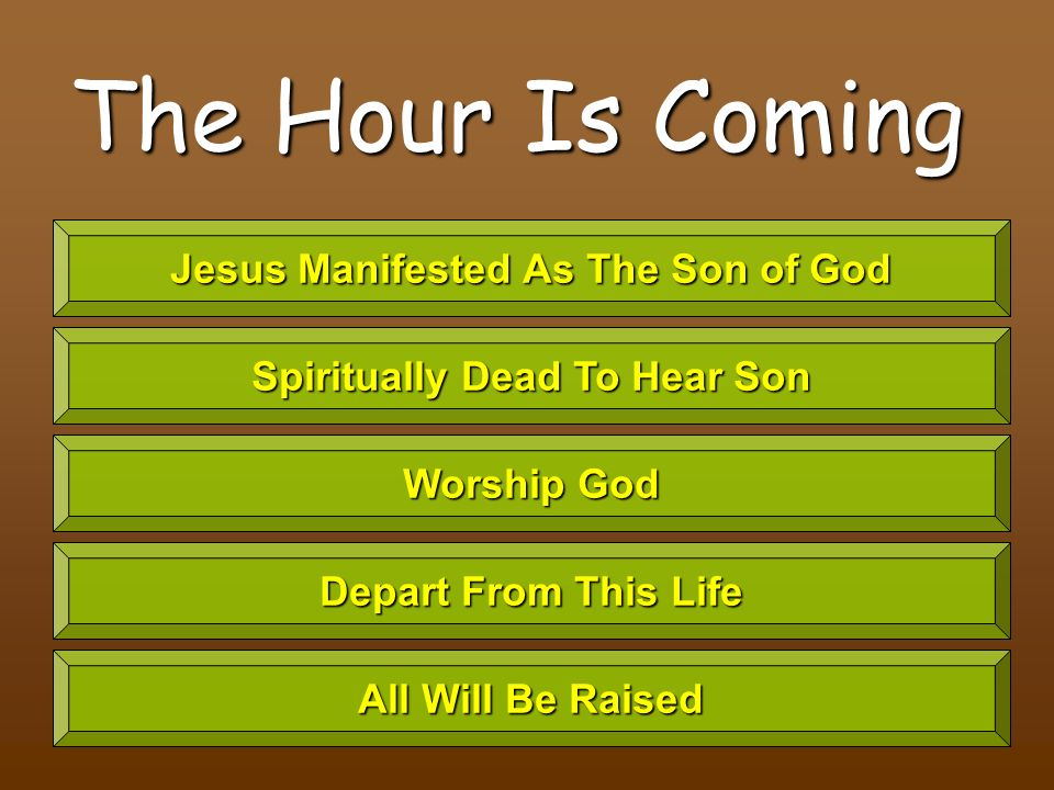 The Hour Is Coming Jesus Manifested As The Son of God Spiritually Dead To Hear Son Worship God Depart From This Life All Will Be Raised