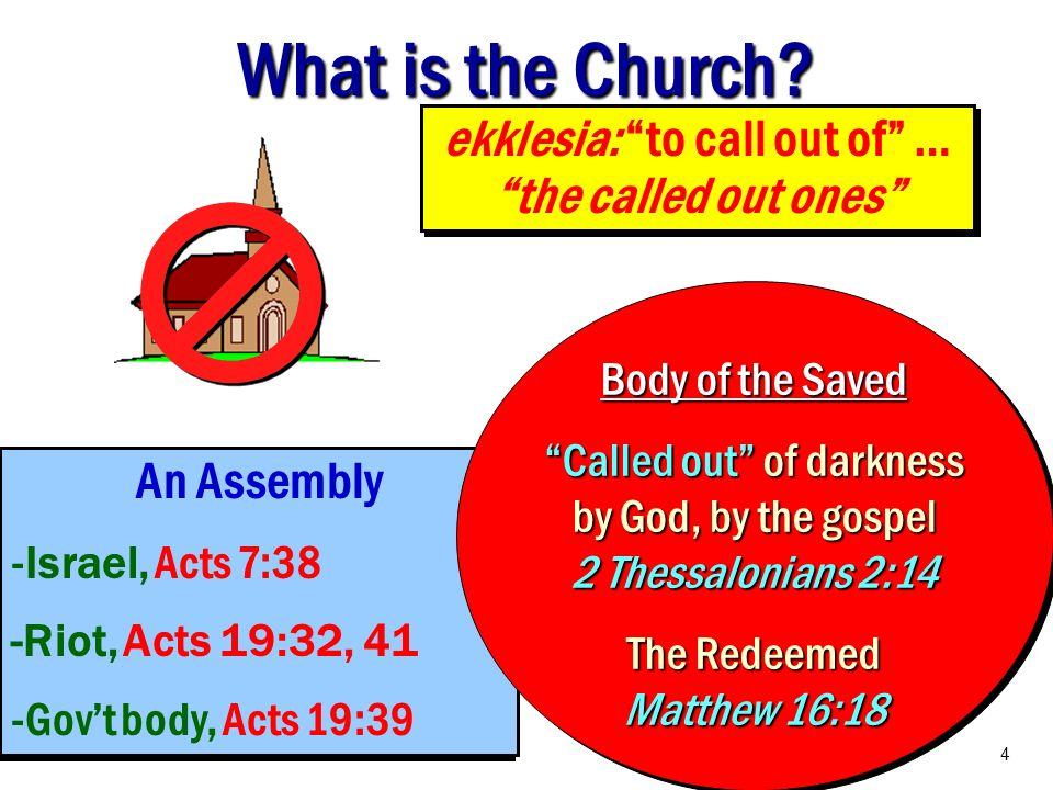 What is the Church? ekklesia: to call out of … the called out ones An Assembly -Israel, Acts 7:38 -Riot, Acts 19:32, 41 -Govt body, Acts 19:39 An Asse
