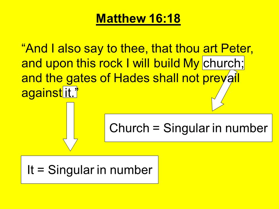 Church = Singular in number Matthew 16:18 And I also say to thee, that thou art Peter, and upon this rock I will build My church; and the gates of Had