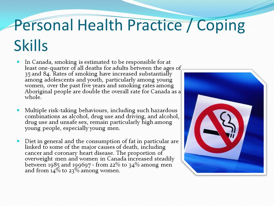 Personal Health Practice / Coping Skills In Canada, smoking is estimated to be responsible for at least one-quarter of all deaths for adults between the ages of 35 and 84.