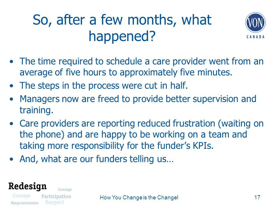 So, after a few months, what happened? The time required to schedule a care provider went from an average of five hours to approximately five minutes.
