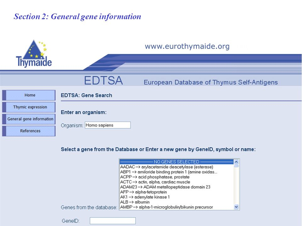 Section 2: General gene information