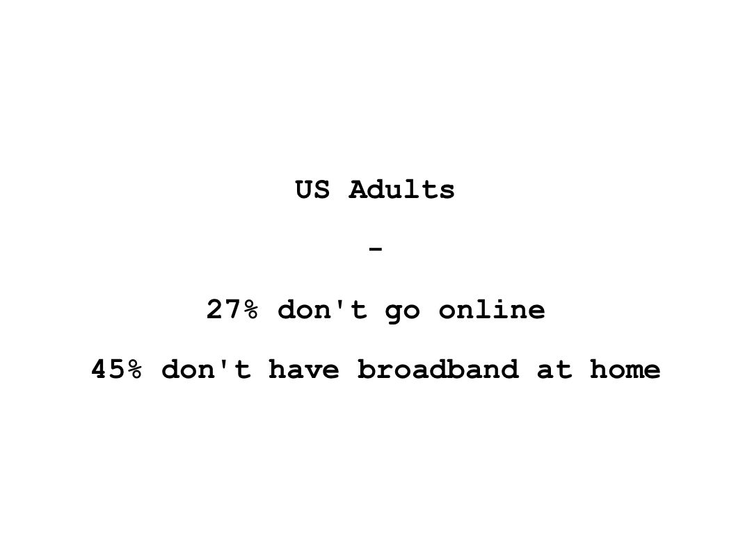 US Adults - 27% don t go online 45% don t have broadband at home