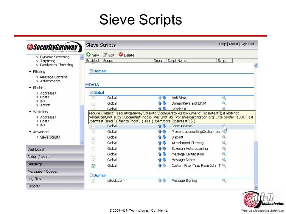 © 2008 Alt-N Technologies - Confidential Sieve Scripts