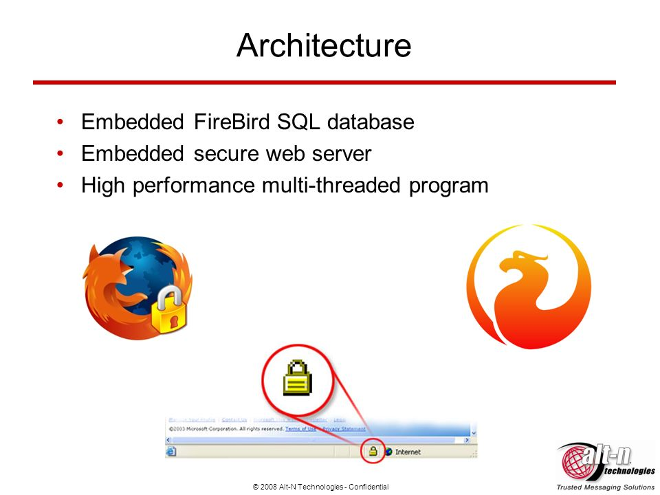 © 2008 Alt-N Technologies - Confidential Architecture Embedded FireBird SQL database Embedded secure web server High performance multi-threaded progra