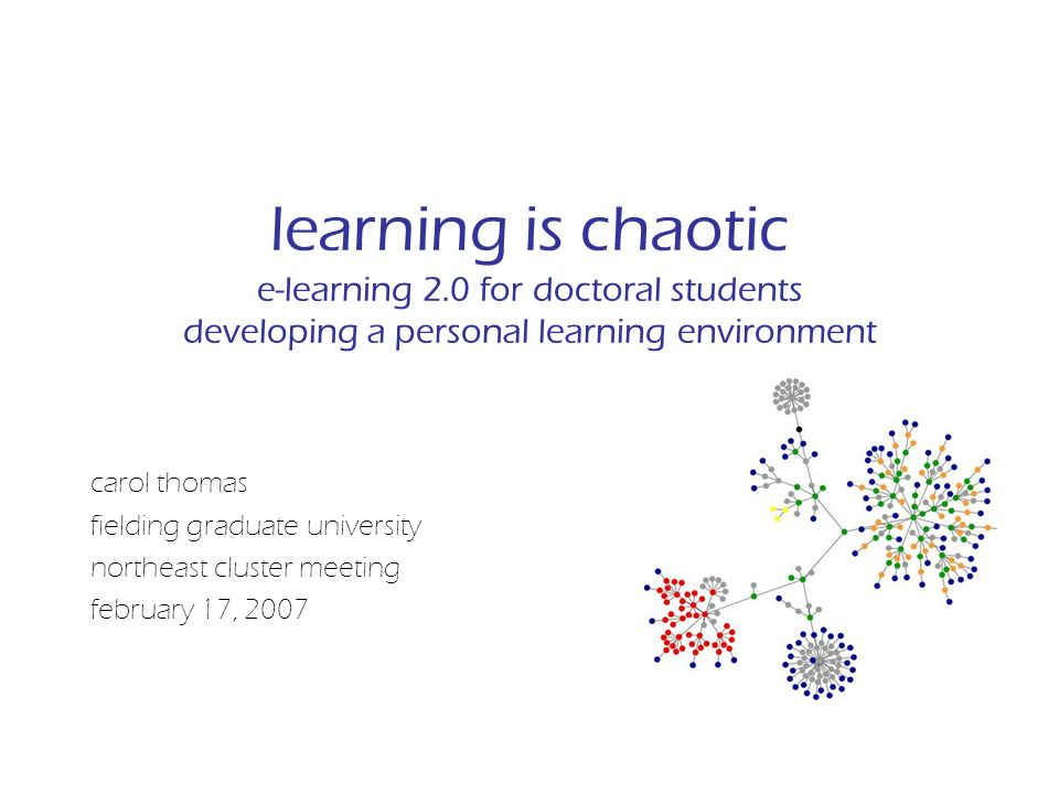 learning is chaotic e-learning 2.0 for doctoral students developing a personal learning environment carol thomas fielding graduate university northeast cluster meeting february 17, 2007