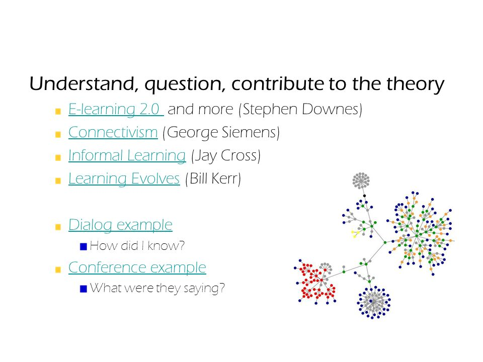 Understand, question, contribute to the theory E-learning 2.0 E-learning 2.0 and more (Stephen Downes) ConnectivismConnectivism (George Siemens) Informal LearningInformal Learning (Jay Cross) Learning EvolvesLearning Evolves (Bill Kerr) Dialog example How did I know.