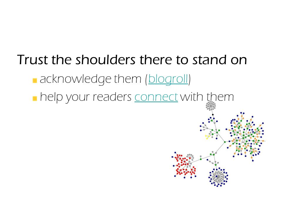 Trust the shoulders there to stand on acknowledge them (blogroll)blogroll help your readers connect with themconnect