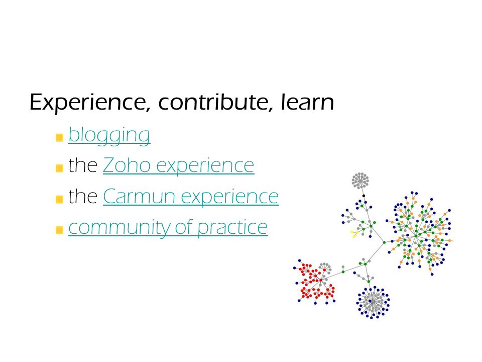 Experience, contribute, learn blogging the Zoho experienceZoho experience the Carmun experienceCarmun experience community of practice