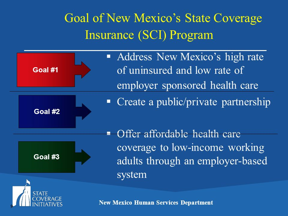 Goal of New Mexicos State Coverage Insurance (SCI) Program New Mexico Human Services Department Address New Mexicos high rate of uninsured and low rat