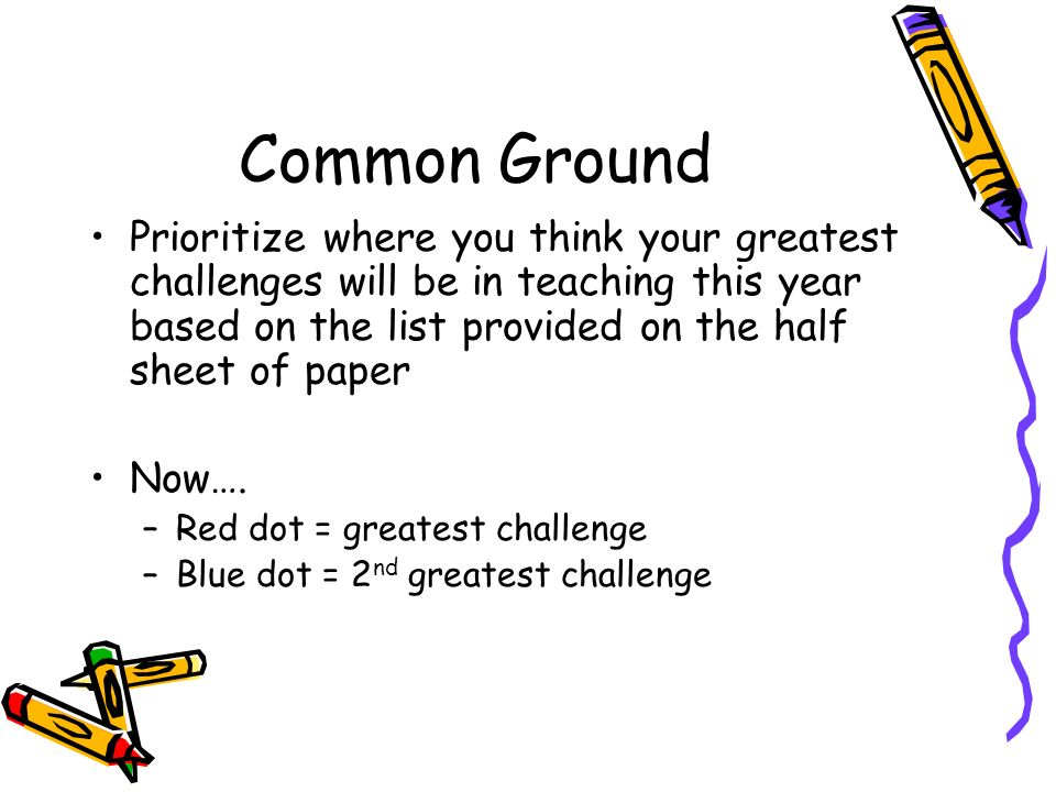 Common Ground Prioritize where you think your greatest challenges will be in teaching this year based on the list provided on the half sheet of paper