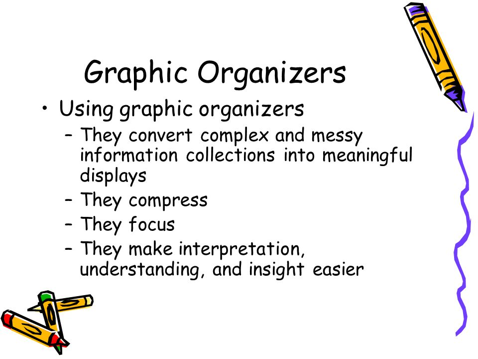Graphic Organizers Using graphic organizers –They convert complex and messy information collections into meaningful displays –They compress –They focu