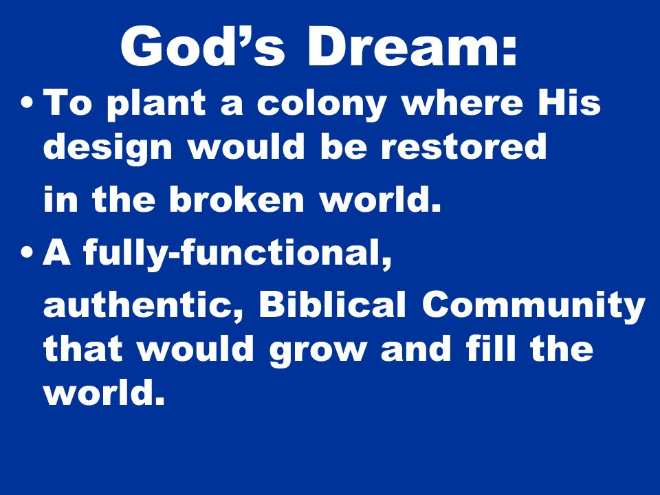 Gods Dream: To plant a colony where His design would be restored in the broken world. A fully-functional, authentic, Biblical Community that would gro