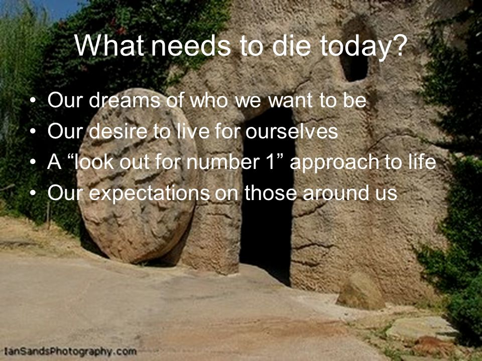 What needs to die today? Our dreams of who we want to be Our desire to live for ourselves A look out for number 1 approach to life Our expectations on