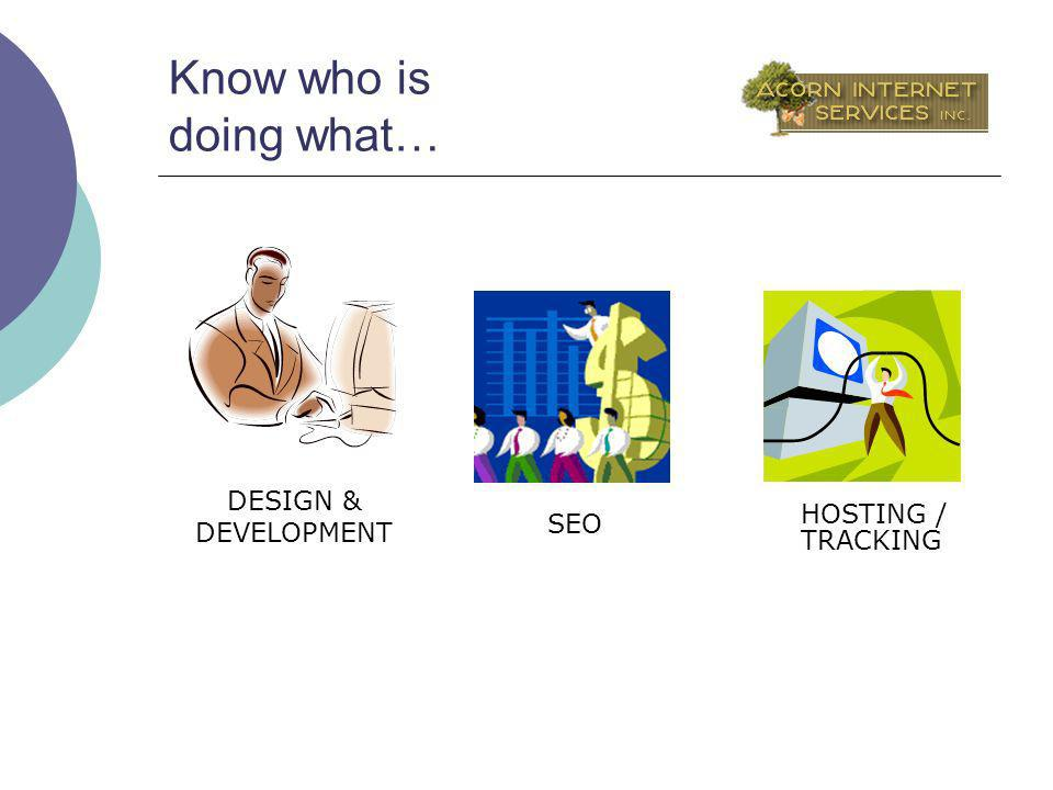 Know who is doing what… HOSTING / SEO DESIGN & DEVELOPMENT TRACKING