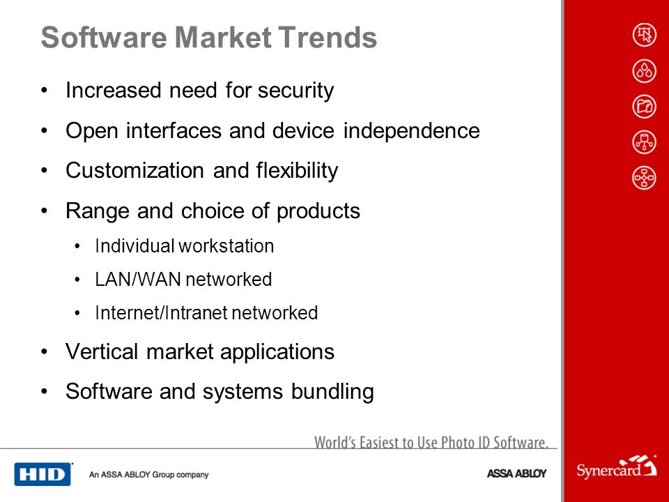 Software Market Trends Increased need for security Open interfaces and device independence Customization and flexibility Range and choice of products Individual workstation LAN/WAN networked Internet/Intranet networked Vertical market applications Software and systems bundling