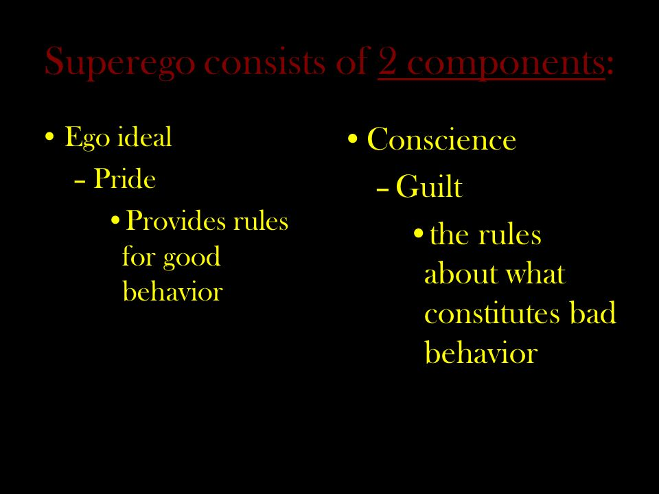 Superego consists of 2 components: Ego ideal –Pride Provides rules for good behavior Conscience –Guilt the rules about what constitutes bad behavior
