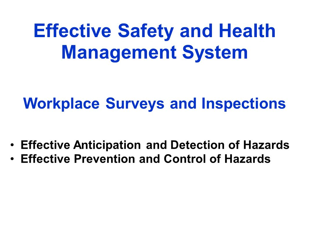 Workplace Surveys and Inspections Effective Safety and Health Management System Effective Anticipation and Detection of Hazards Effective Prevention and Control of Hazards