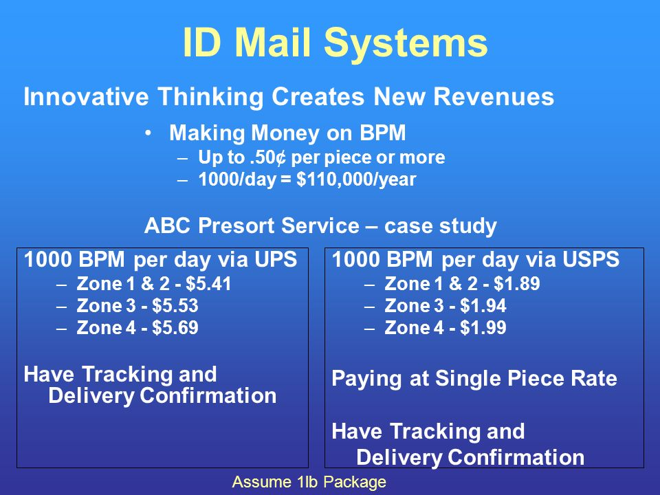 ID Mail Systems Innovative Thinking Creates New Revenues Making Money on BPM –Up to.50¢ per piece or more –1000/day = $110,000/year ABC Presort Service – case study 1000 BPM per day via UPS –Zone 1 & 2 - $5.41 –Zone 3 - $5.53 –Zone 4 - $5.69 Have Tracking and Delivery Confirmation 1000 BPM per day via USPS –Zone 1 & 2 - $1.89 –Zone 3 - $1.94 –Zone 4 - $1.99 Paying at Single Piece Rate Have Tracking and Delivery Confirmation Assume 1lb Package