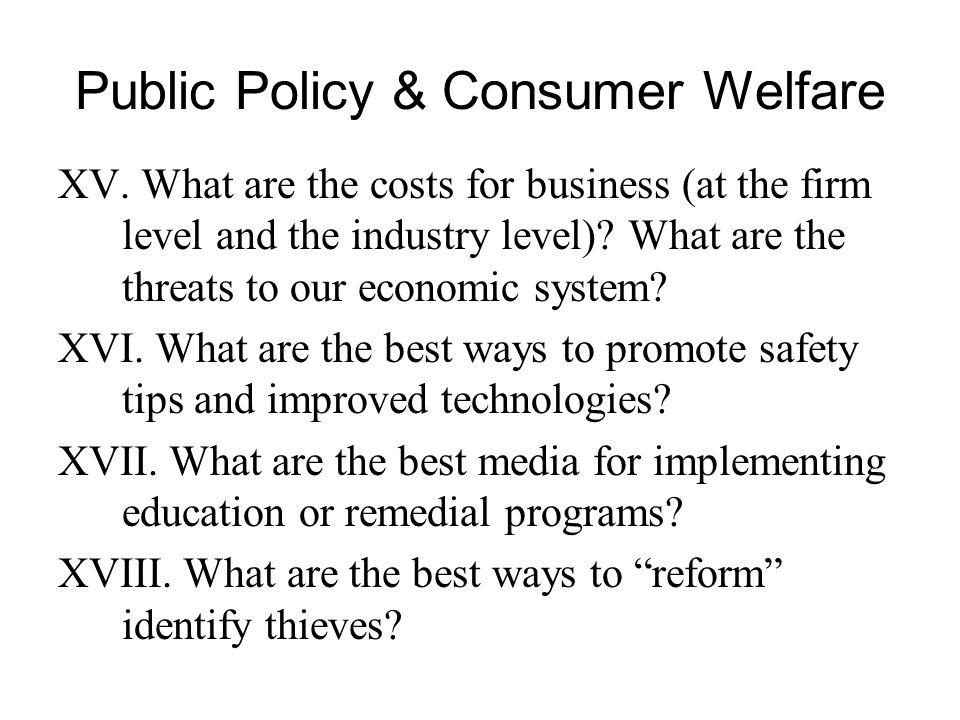 Public Policy & Consumer Welfare XV.