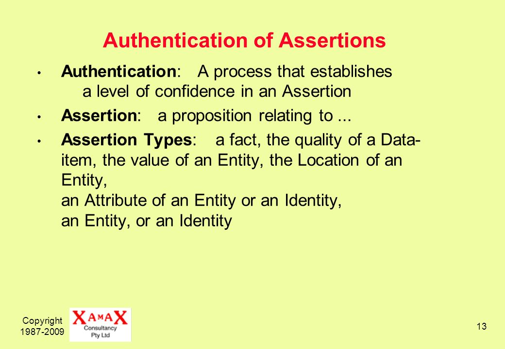 Copyright Authentication of Assertions Authentication: A process that establishes a level of confidence in an Assertion Assertion: a proposition relating to...