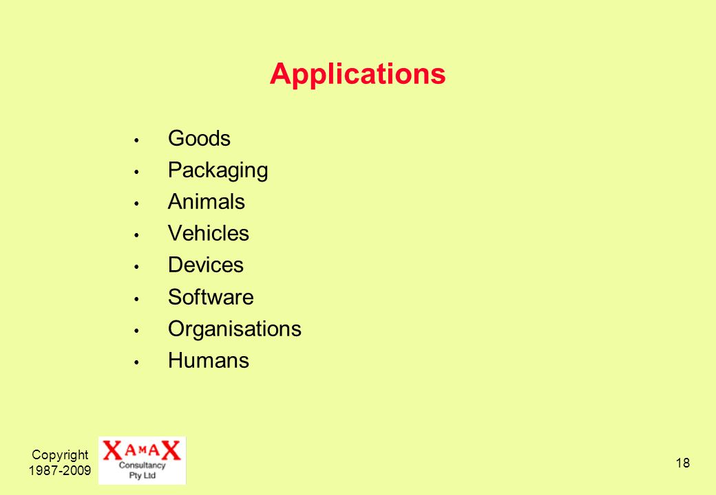 Copyright Applications Goods Packaging Animals Vehicles Devices Software Organisations Humans