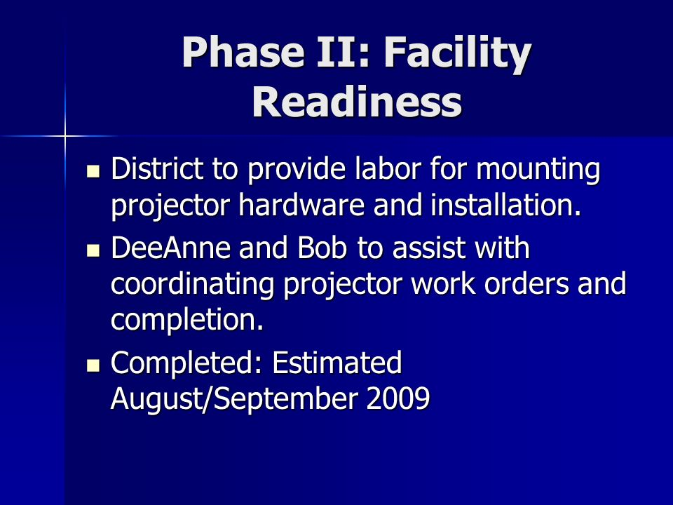 Phase II: Facility Readiness District to provide labor for mounting projector hardware and installation.