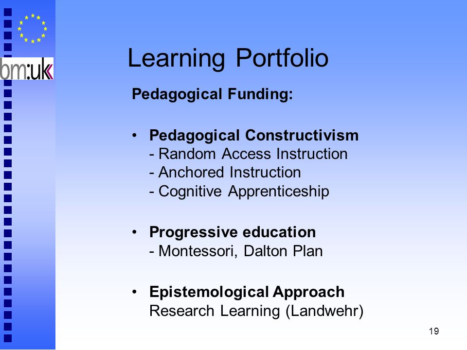 19 Learning Portfolio Pedagogical Funding: Pedagogical Constructivism - Random Access Instruction - Anchored Instruction - Cognitive Apprenticeship Pr