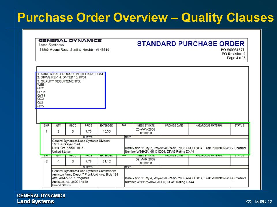 Z22-1536B-12 Purchase Order Overview – Quality Clauses GENERAL DYNAMICS Land Systems