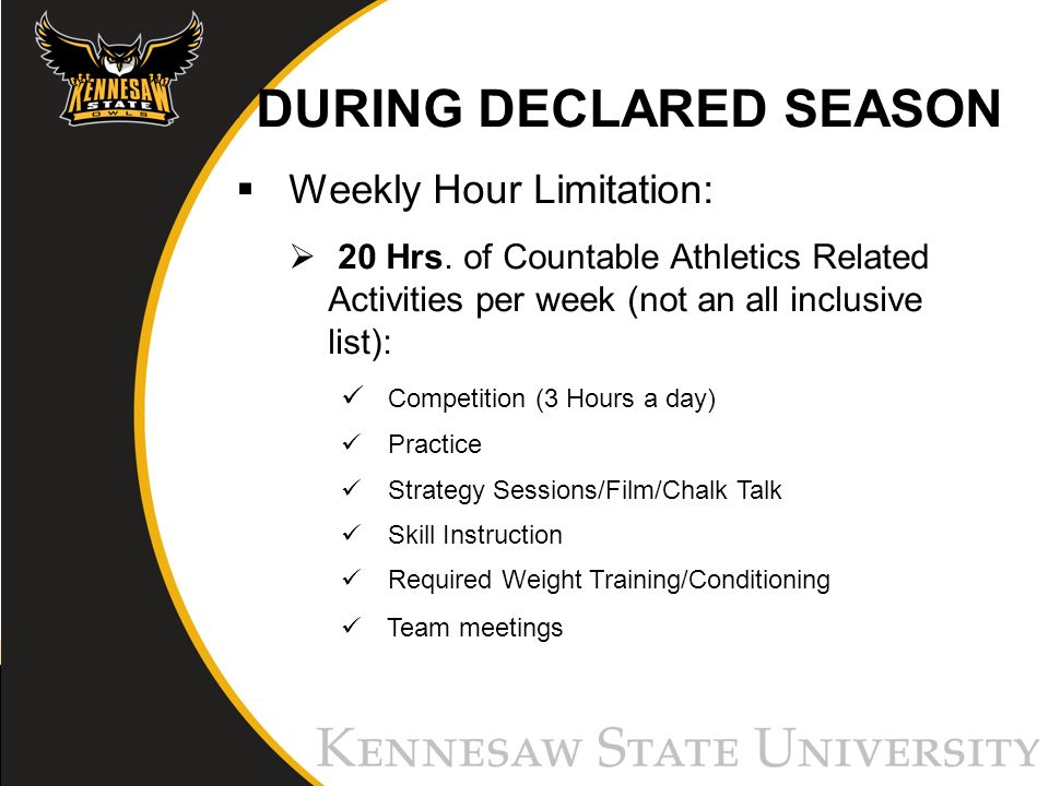 DURING DECLARED SEASON Weekly Hour Limitation: 20 Hrs.