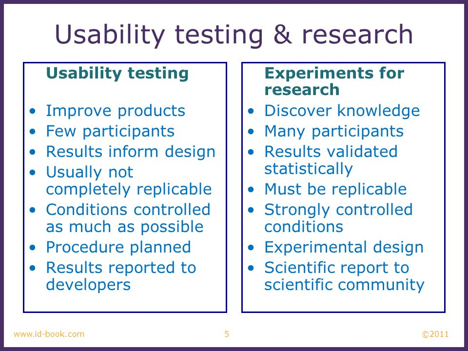 ©2011 6www.id-book.com Usability testing Goals & questions focus on how well users perform tasks with the product.