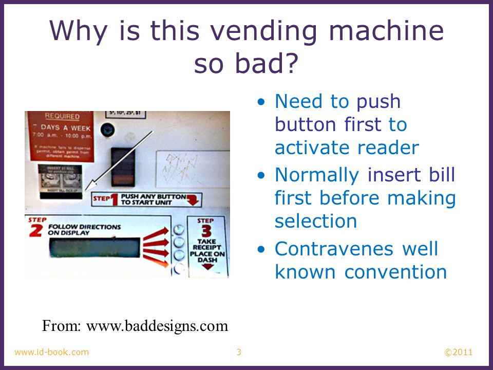 ©2011 3www.id-book.com Why is this vending machine so bad? Need to push button first to activate reader Normally insert bill first before making selec