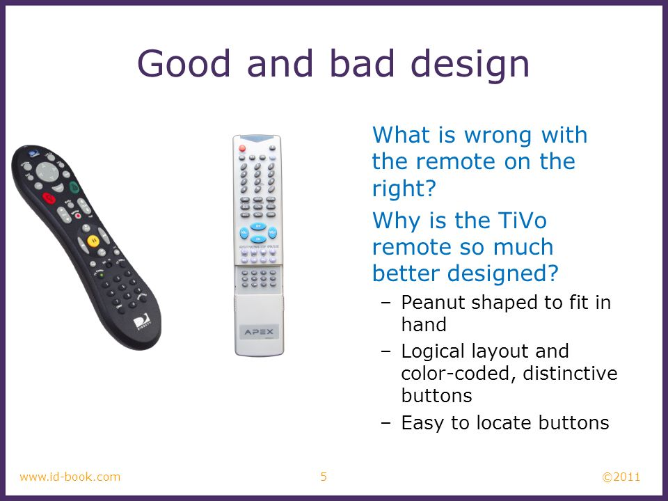 ©2011 5www.id-book.com Good and bad design What is wrong with the remote on the right? Why is the TiVo remote so much better designed? –Peanut shaped
