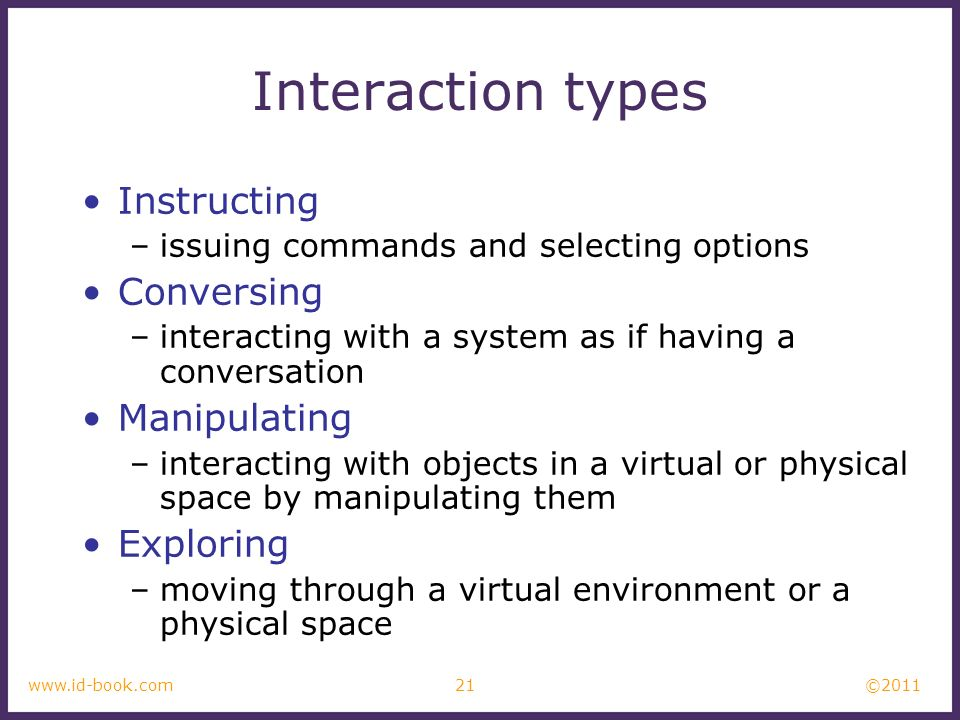 ©2011 21www.id-book.com Interaction types Instructing –issuing commands and selecting options Conversing –interacting with a system as if having a con