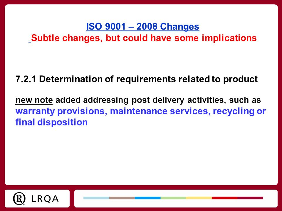 ISO 9001 – 2008 Changes Subtle changes, but could have some implications 7.2.1 Determination of requirements related to product new note added address