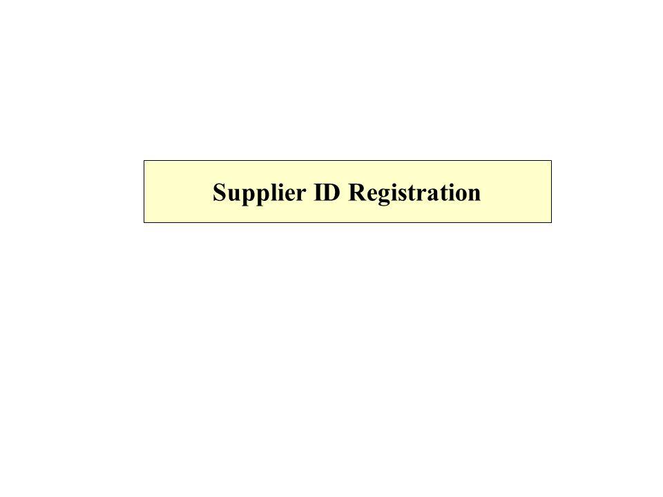 Supplier ID Registration