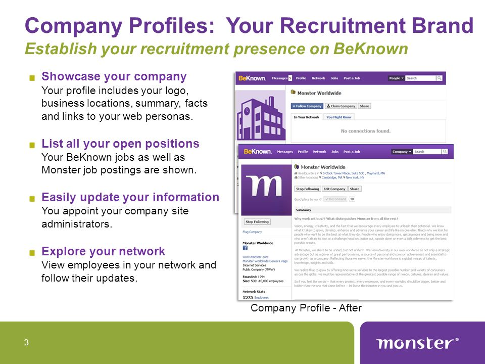 Company Profile Components Basic information including logo, social media links, company background and stats on number of followers and employees.