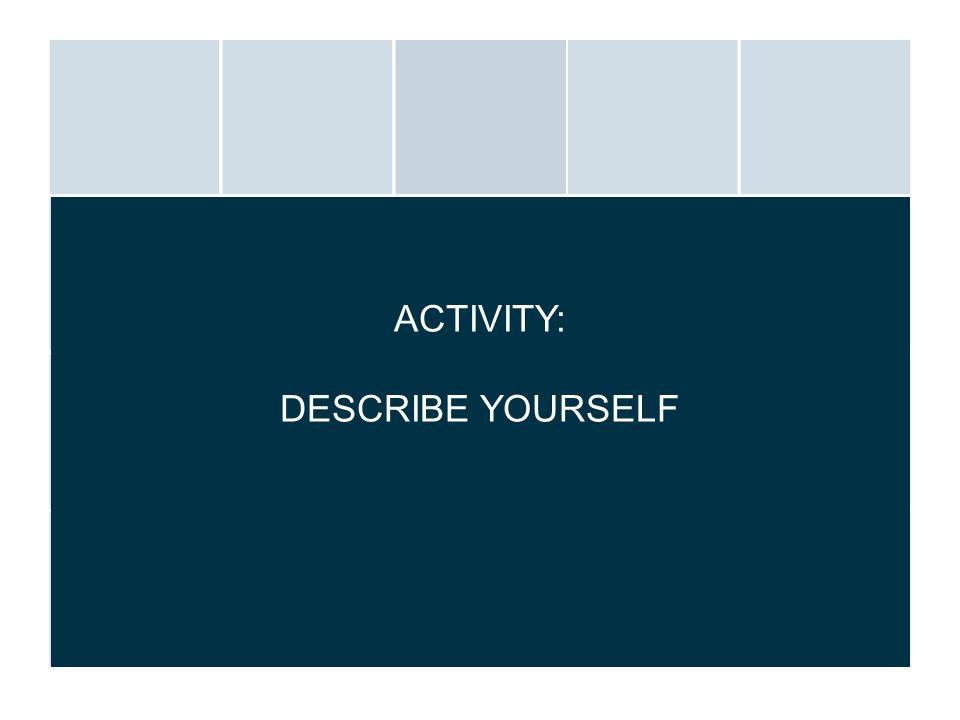 ACTIVITY: DESCRIBE YOURSELF