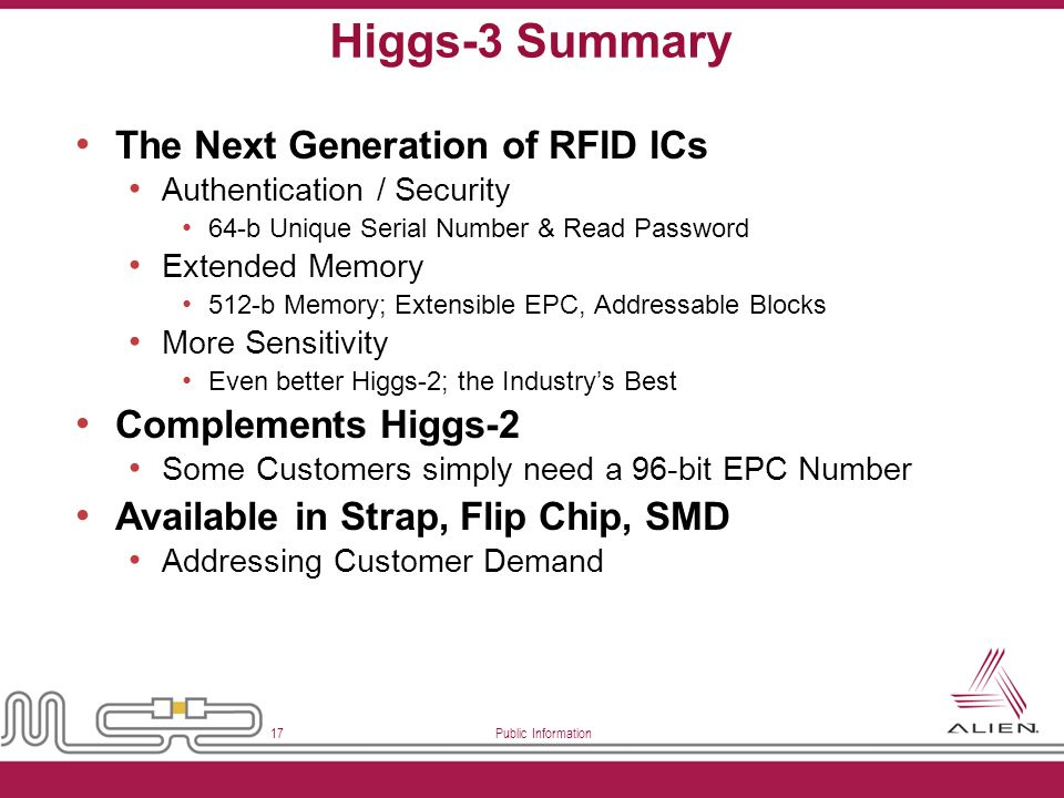 Public Information 17 Higgs-3 Summary The Next Generation of RFID ICs Authentication / Security 64-b Unique Serial Number & Read Password Extended Mem
