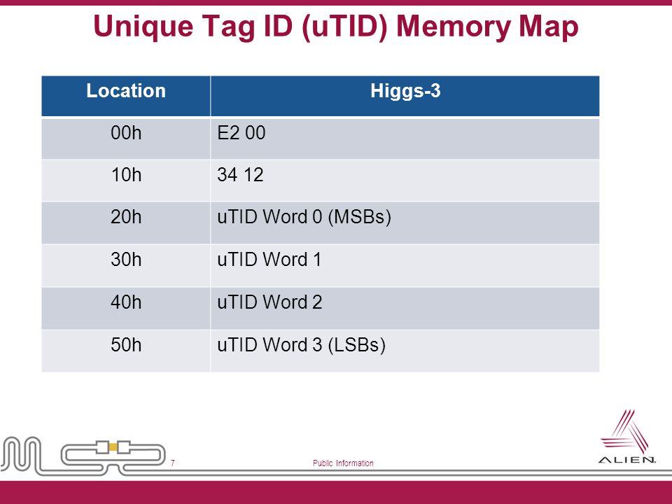 Public Information 7 Unique Tag ID (uTID) Memory Map LocationHiggs-3 00hE2 00 10h34 12 20huTID Word 0 (MSBs) 30huTID Word 1 40huTID Word 2 50huTID Wor