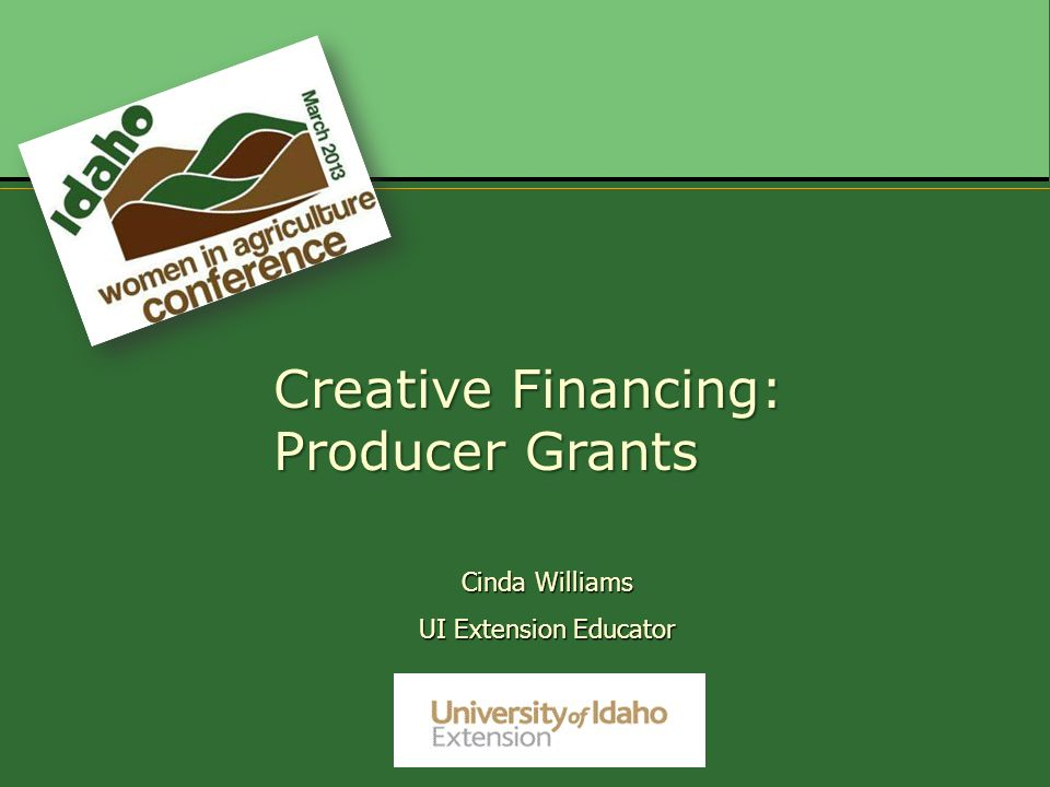 Cinda Williams UI Extension Educator Creative Financing: Producer Grants
