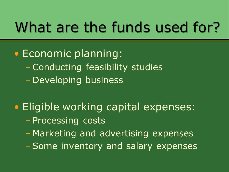 What are the funds used for? Economic planning: –Conducting feasibility studies –Developing business Eligible working capital expenses: –Processing co
