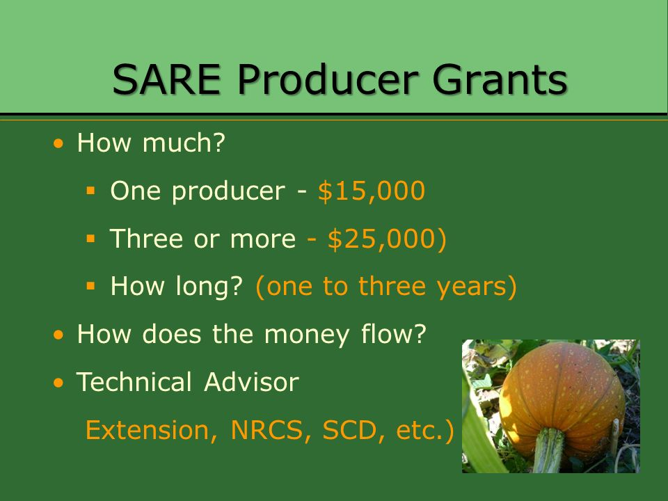 SARE Producer Grants How much? One producer - $15,000 Three or more - $25,000) How long? (one to three years) How does the money flow? Technical Advis