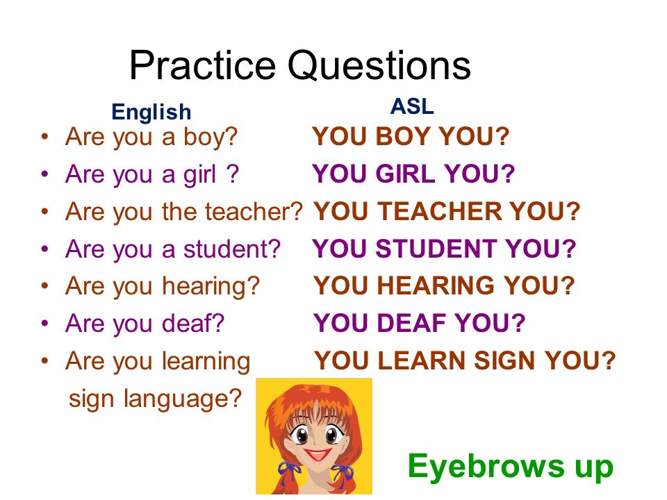 Practice Questions Are you a boy? YOU BOY YOU? Are you a girl ? YOU GIRL YOU? Are you the teacher? YOU TEACHER YOU? Are you a student? YOU STUDENT YOU