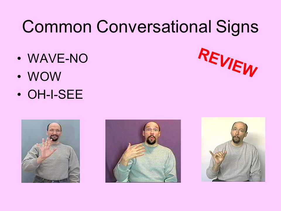 Common Conversational Signs WAVE-NO WOW OH-I-SEE REVIEW