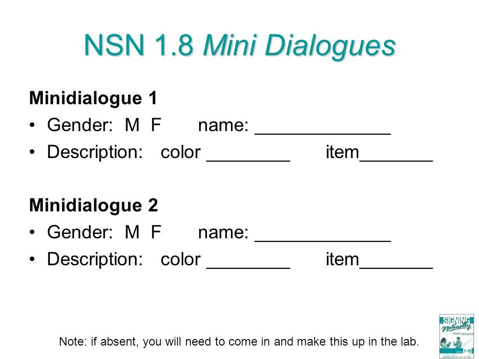 NSN 1.8 Mini Dialogues Minidialogue 1 Gender: M F name: _____________ Description: color ________ item_______ Minidialogue 2 Gender: M F name: _______