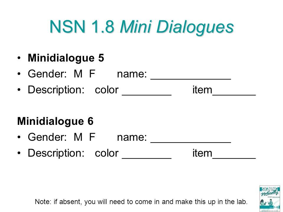 NSN 1.8 Mini Dialogues Minidialogue 5 Gender: M F name: _____________ Description: color ________ item_______ Minidialogue 6 Gender: M F name: _______