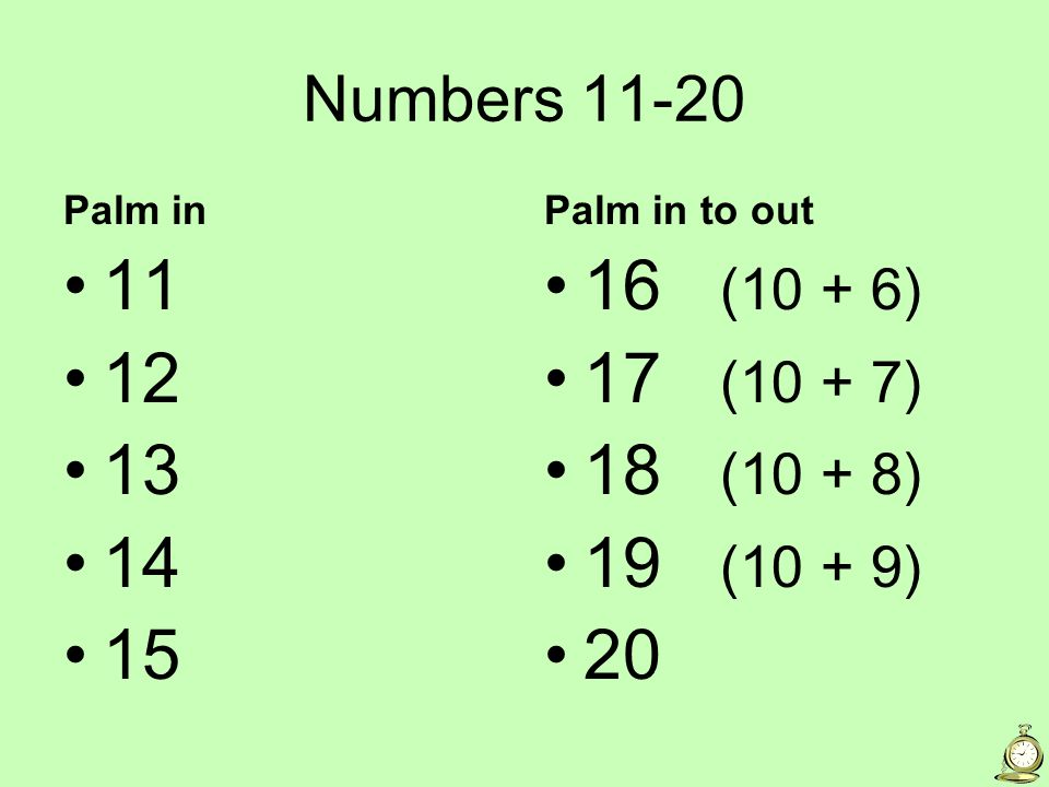 Numbers 11-20 Palm in 11 12 13 14 15 Palm in to out 16 (10 + 6) 17 (10 + 7) 18 (10 + 8) 19 (10 + 9) 20