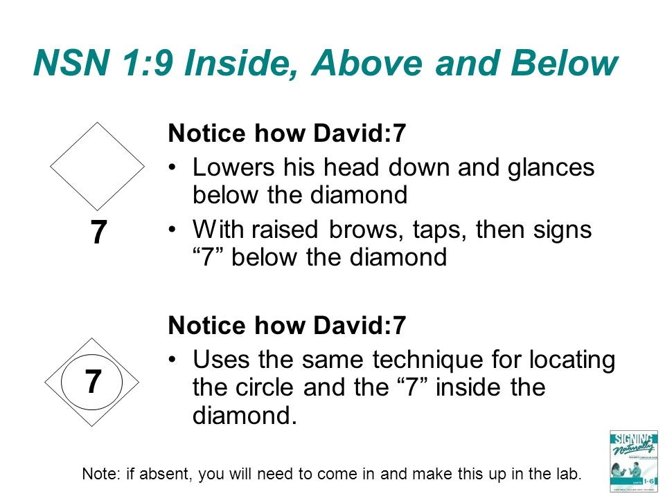 NSN 1:9 Inside, Above and Below Notice how David:7 Lowers his head down and glances below the diamond With raised brows, taps, then signs 7 below the